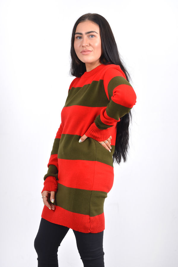 Red And Green Striped Jumper Dress