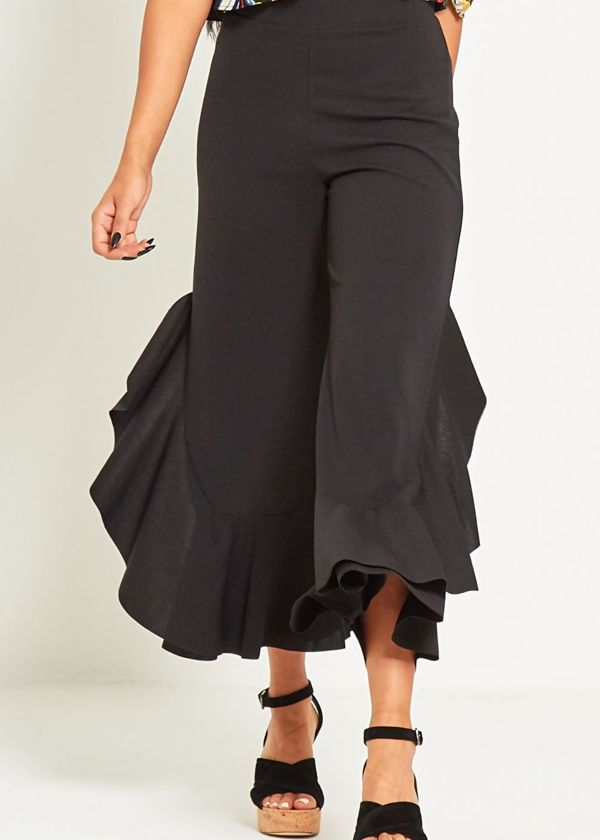 Red Asymmetric Drapped Frill Trouser
