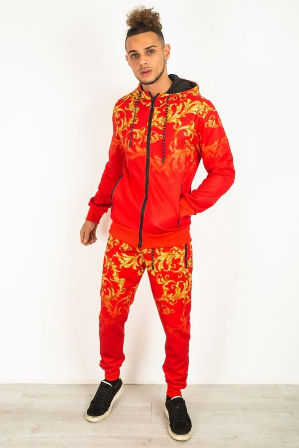 Red Baroque Print Skinny Fit Tracksuit