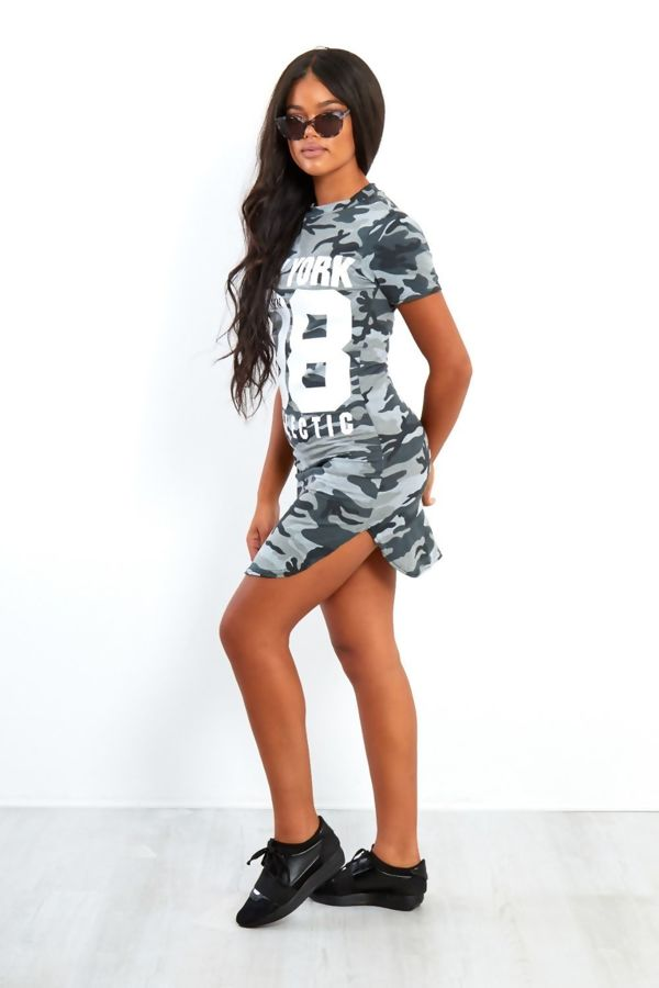 Red Blue Camouflage 98 Printed Bodycon Dress