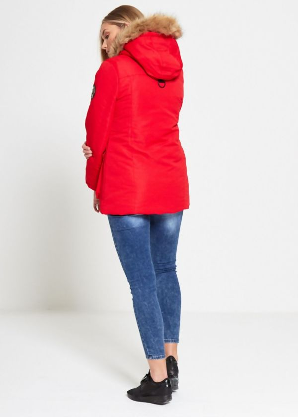 Red Brave Soul Cord Puff Fur Hood Parka