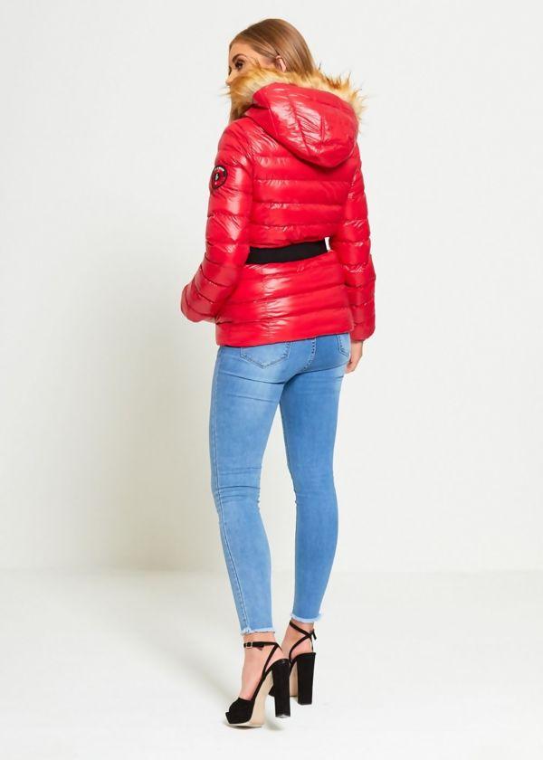 Red Brave Soul Puffer Belt Jacket