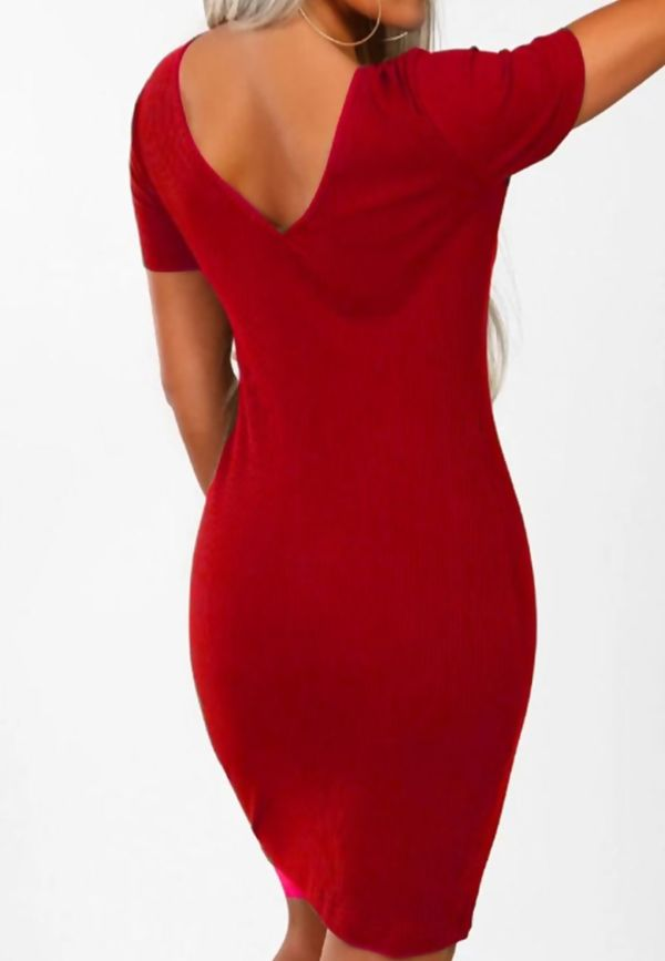 Red Button Front Ribbed Mini Dress
