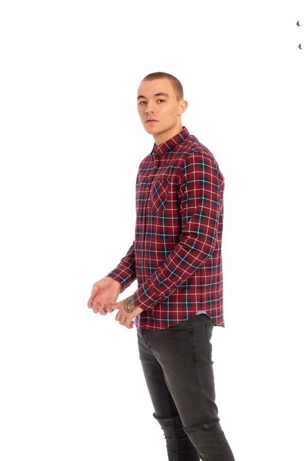 Red Chambray Trim Flannel Shirt