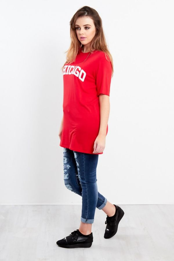 Red Chicago Oversized Long T-Shirt