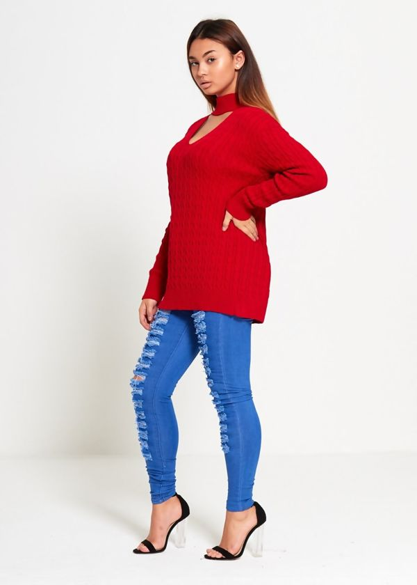 Red Choker Neck Knitted Jumper
