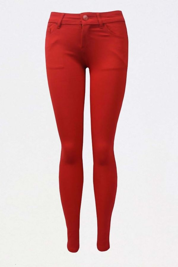 Red Colored Stretch Slim Fit Skinny Jeans