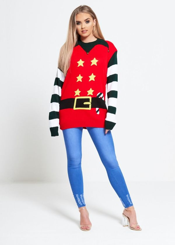 Red Elf Suit Christmas Knitted Jumper