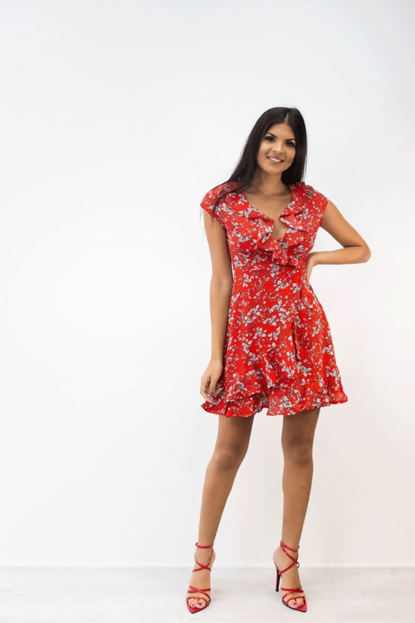 Red Floral Ruffle Tea Dress