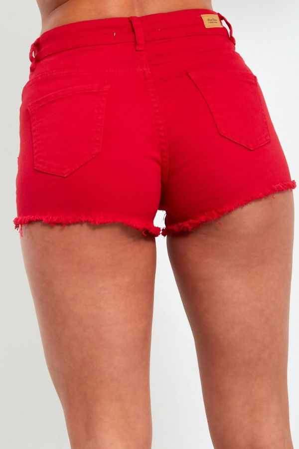 Red Frayed Hem Denim Shorts