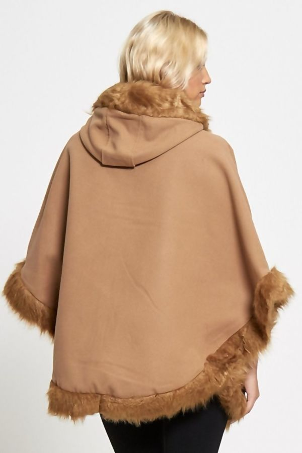 Red Fur Lined Hooded Cape
