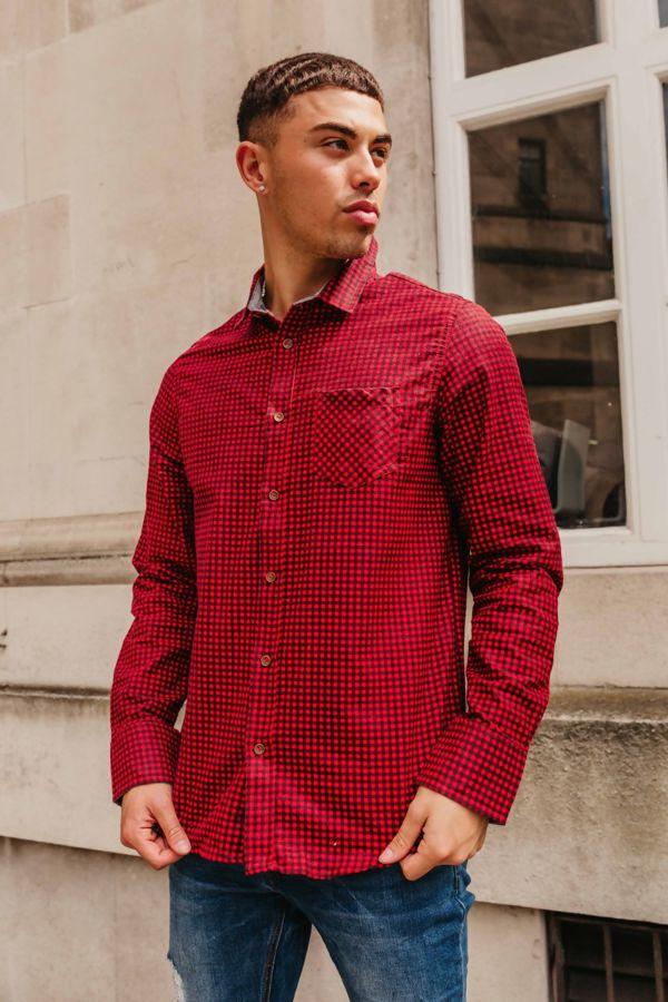 Red Gingham Long Sleeve Collar Shirt