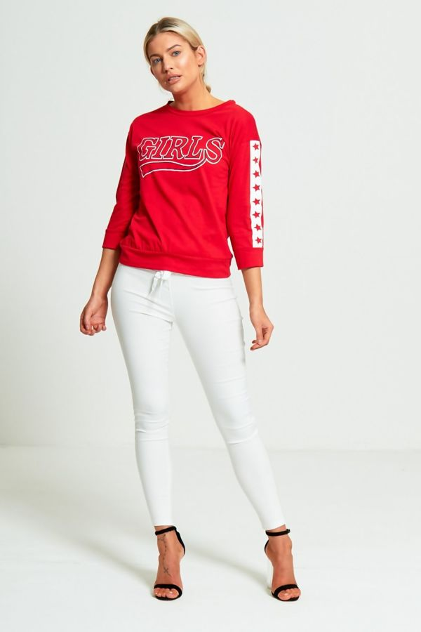 Red Girls Star Slogan T-Shirt