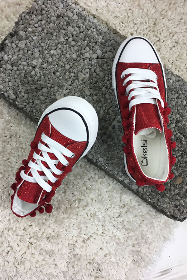 Red Glitter Pompom Canvas Lace Up Trainers