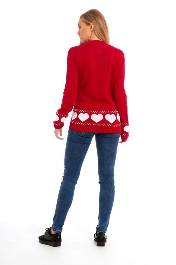 Red Glitter Reindeer Christmas Jumper