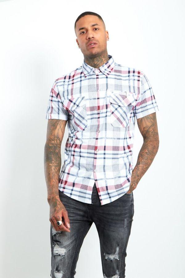 Red Half Sleeve Check Shirt