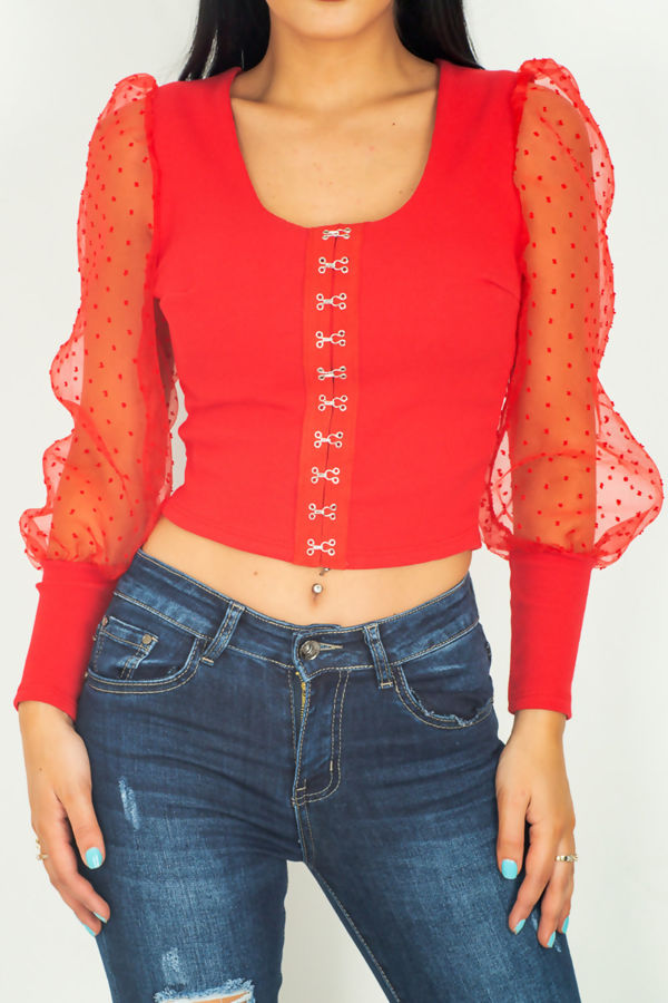 Red Jasmine Mesh Sleeves Crop Top