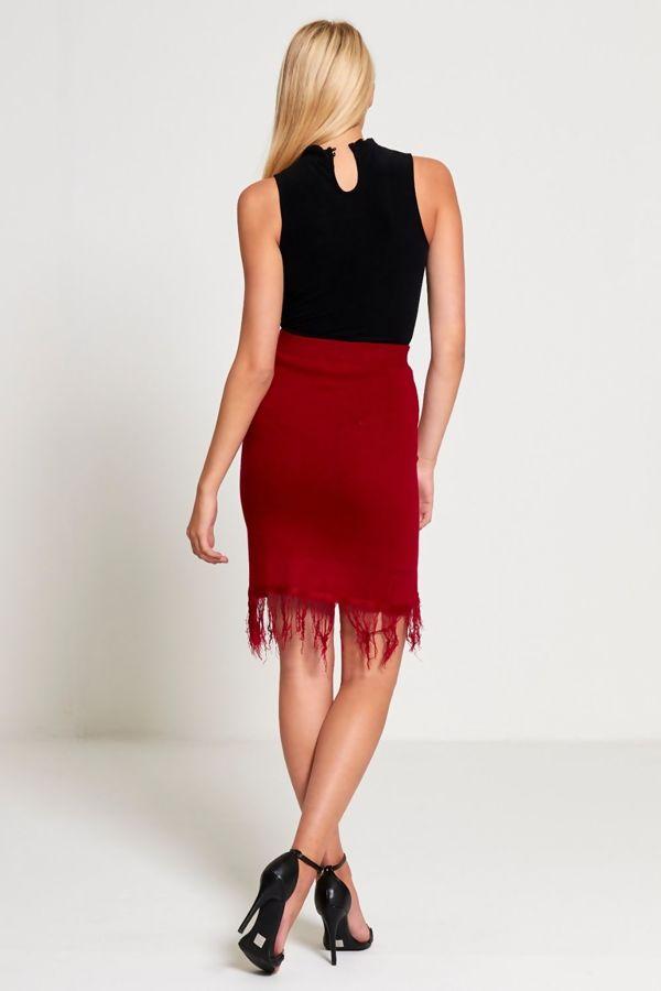 Red Knitted Tassels Hem Skirt