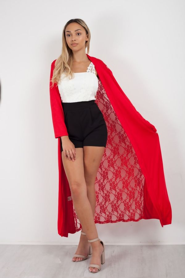 Red Lace Back Longline Cardigan
