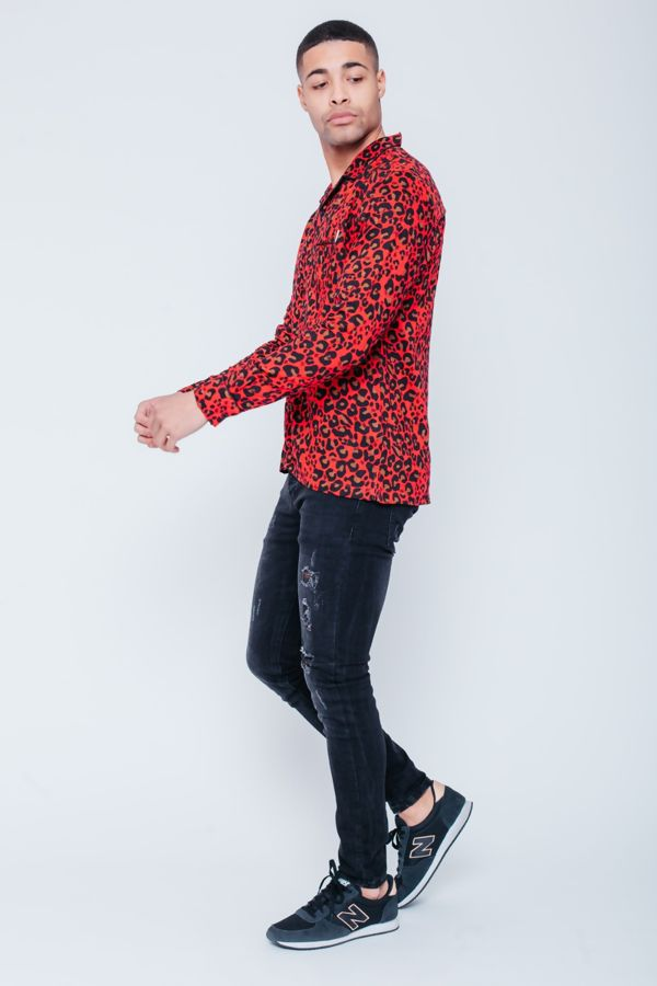 Red Leopard Print Shirt