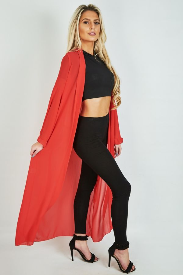 Red Long Bell Cardigan