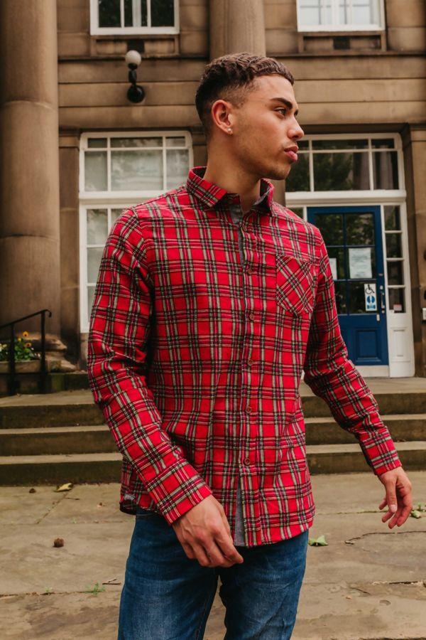 Red Long Sleeve Tartan Print Shirt