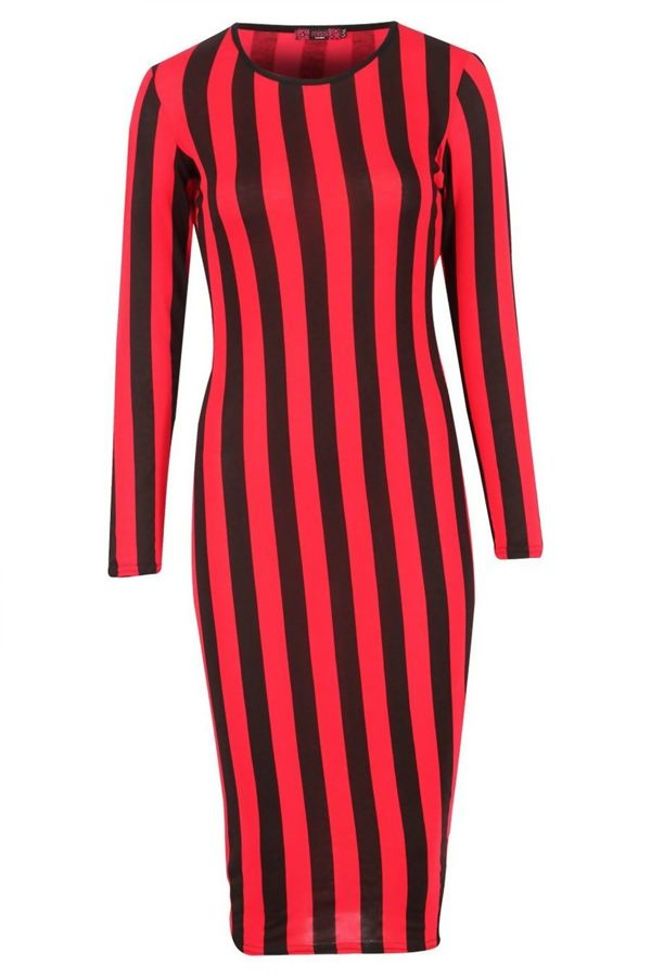 Red Long Sleeved Stripey Bodycon Dress