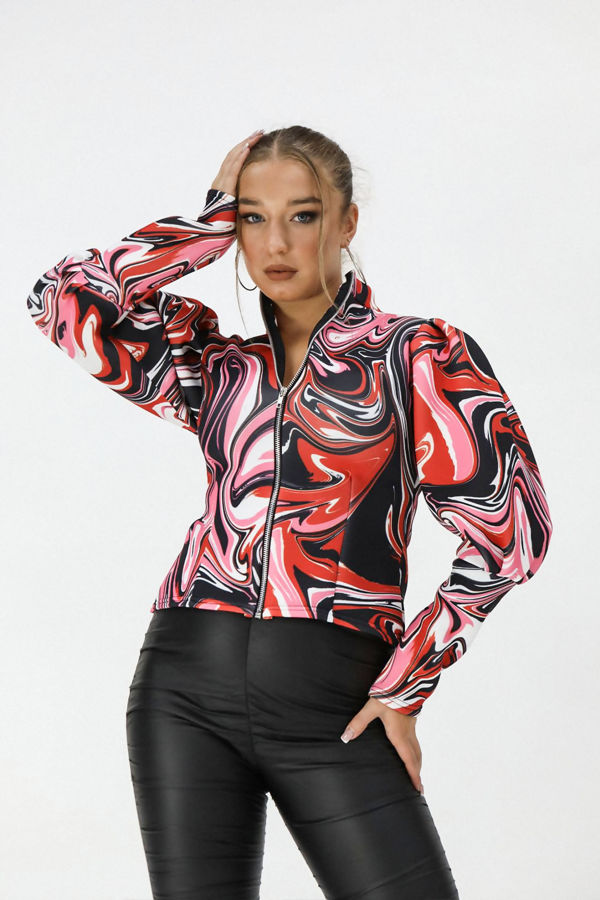 Red Marble Puff Sleeve Zip Up Jacket