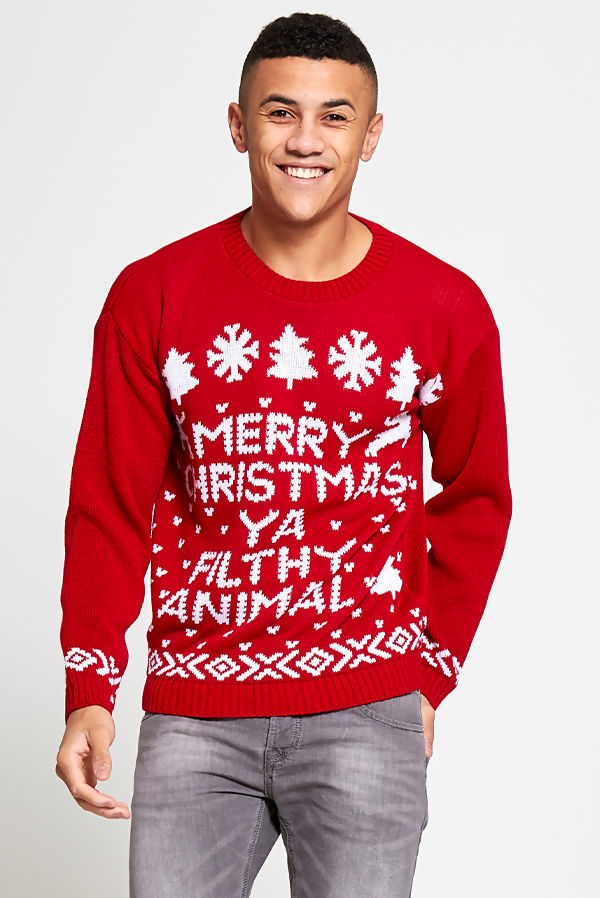 Red Merry Christmas Filthy Animal Christmas Jumper