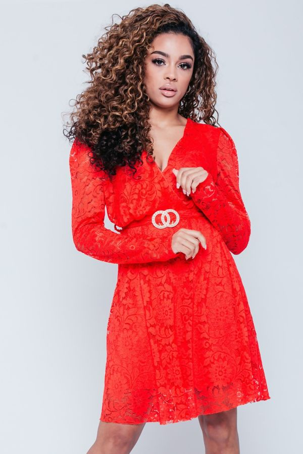 Red Mesh Overlay Belted Dress