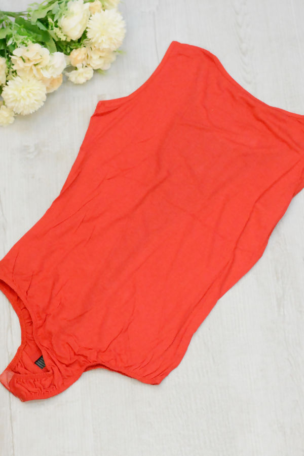 Red Mesh Sleeveless Bodysuit