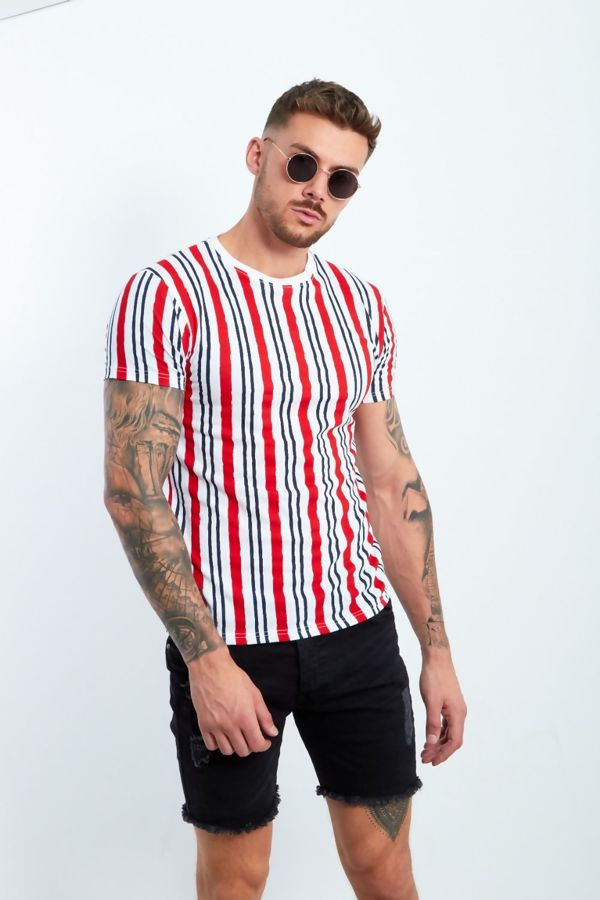 Red Multi Stripe Muscle Fit T-Shirt