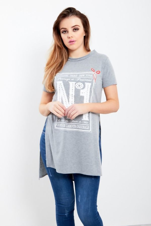 Red NO1 Side Split T-Top