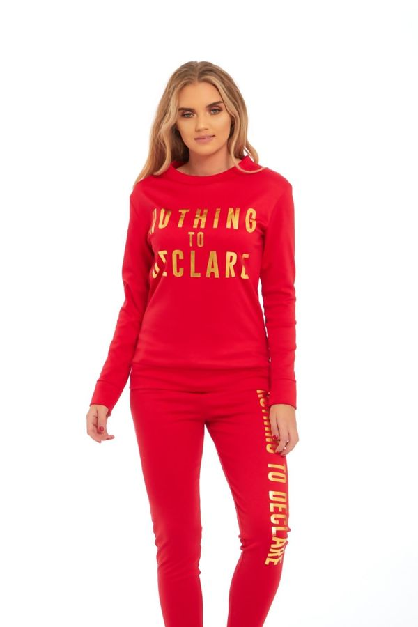 Red Nothing To Declare Customized Tracksuit