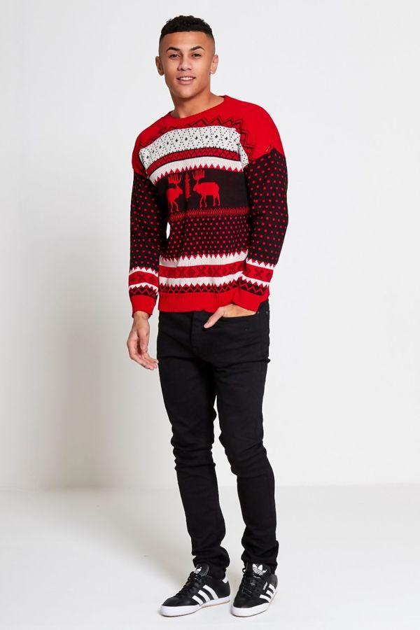 Red Novelty Reindeer Christmas Jumper
