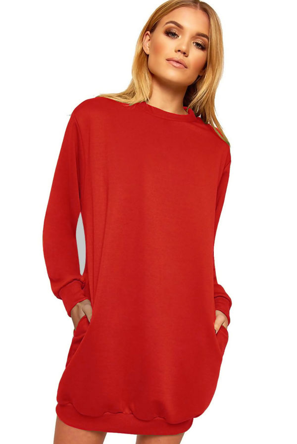 Red Oversized Pocket Sweat Dress