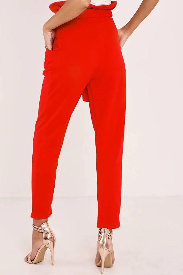 Red Paperbag Skinny Trousers