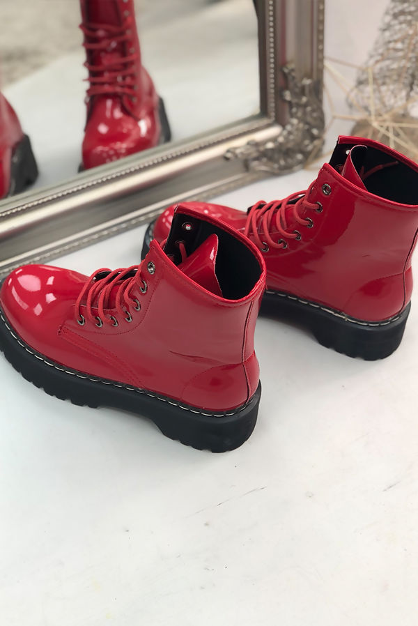 Red Patent Barrel Boots