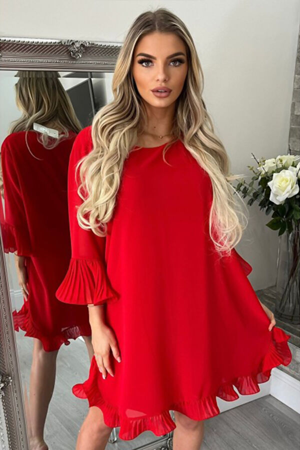 Red Pleated Frill Swing Dress