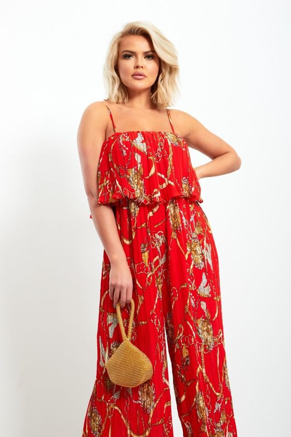 Red Pleated Strappy Printed Jumpsuit