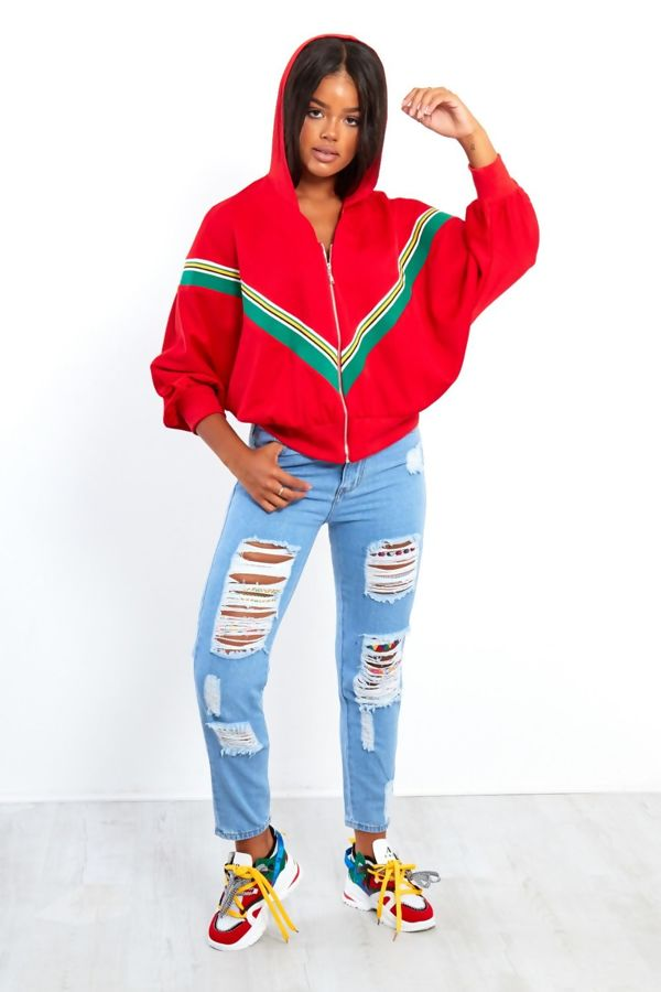 Red Poncho Sleeve Hooded Jacket