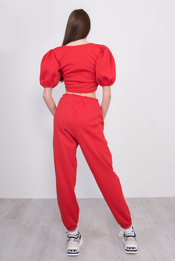 Red Puff Sleeve Cropped Top And Jogger Lounge Set
