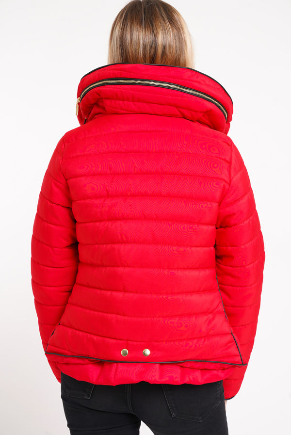 Red Quilted Padded Puffer Bubble Fur Collar Jacket