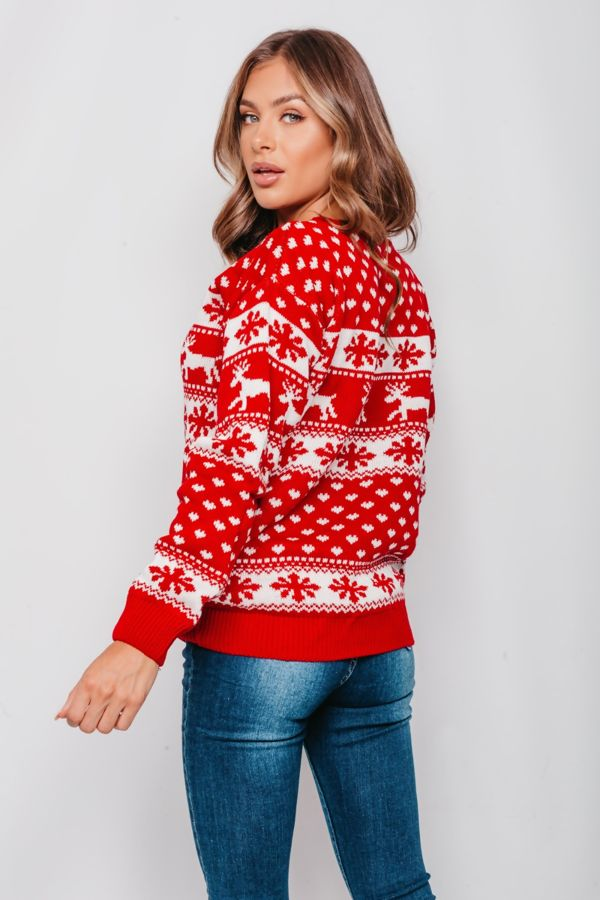 Plus Size Red Reindeers and Snow Flake Christmas Jumper