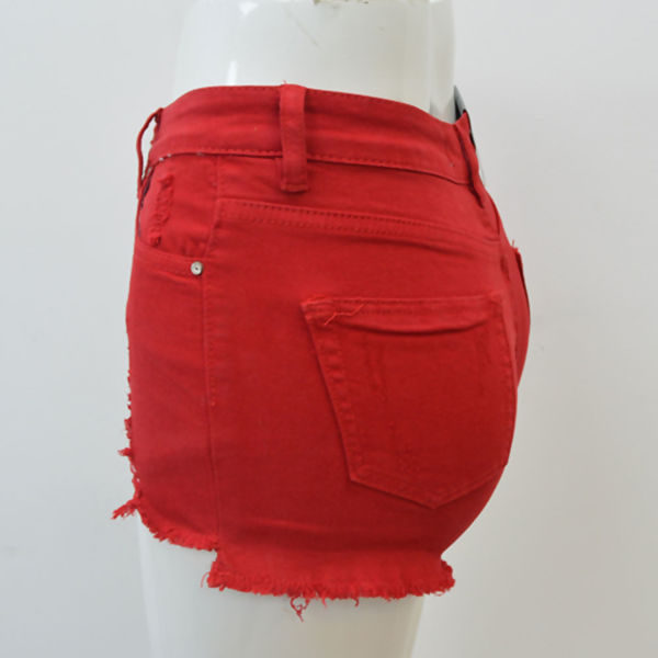 Red Ripped Frayed Hem Shorts