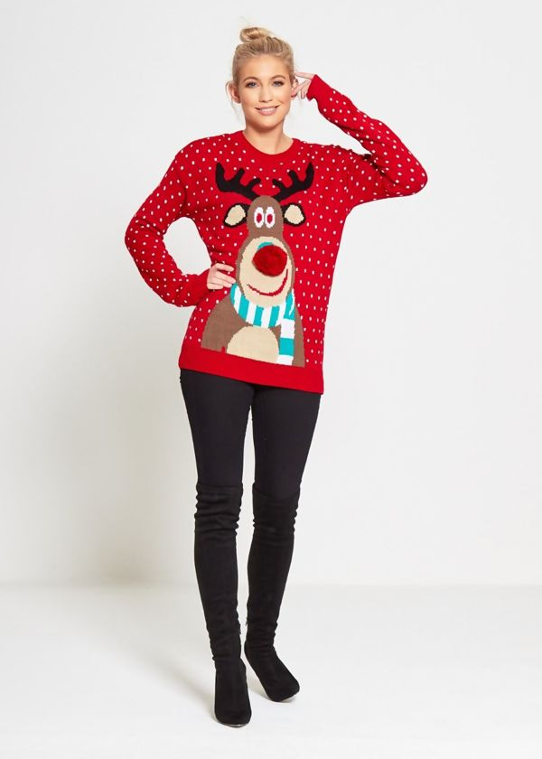 Red Rudolph Pom Pom Knitted Christmas Jumper