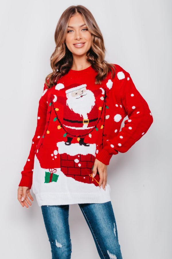 Red Santa Decorating Christmas Jumper