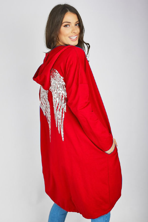 Red Sequin Angel Wing Hooded Cardigan