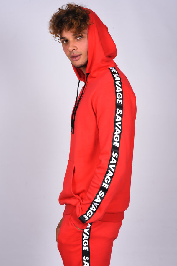 Red Skinny Fit Hooded Tracksuit With Savage Band