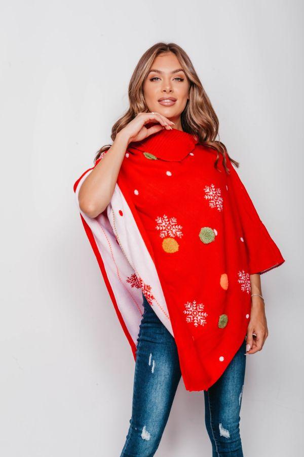 Red Snowflake Pom Pom Christmas Poncho